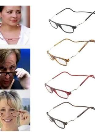 Óculos leitura lente c/grau armação suporte imã oportunidade
