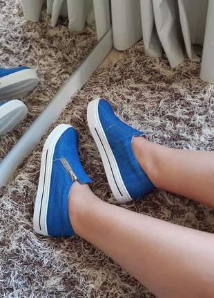 Tênis slip on feminino iate sapatênis flatform listra jeans