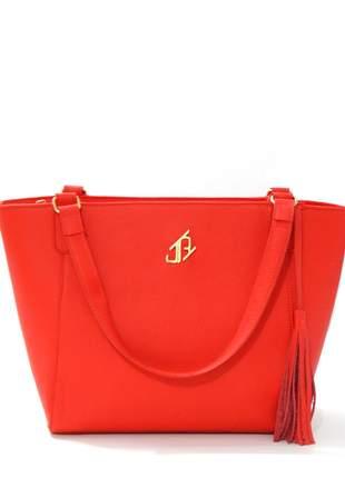 Bolsa de couro shopper johny rafael vermelha