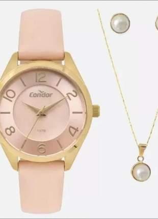 Relógio condor feminino + kit de semi jóia co2036kww/k4j