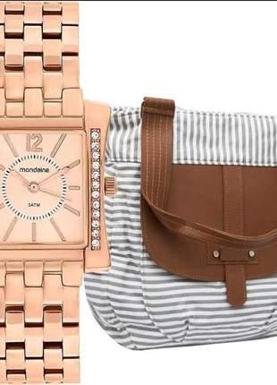 Kit relógio feminino mondaine c/ bolsa vintage bolr94335ld01