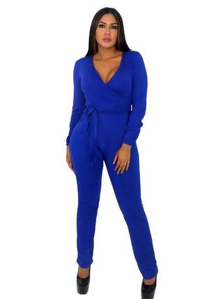 Macacão manga longa laço na cintura. ref: 447 (azul)