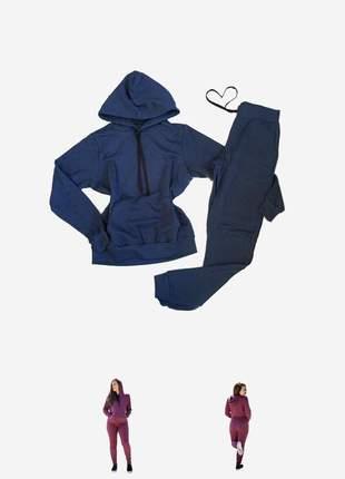 Conjunto moletom peluciado blusa bolso canguru com touca e calça agasalho