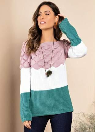 Sueter feminino em trico rosa off white verde tricot