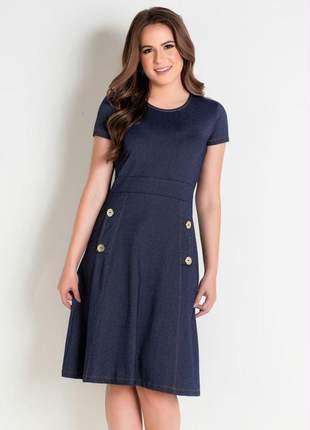 Vestido evasê azul com botões moda evangélica