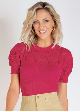 Blusa em tricô pink com mangas bufantes tricot