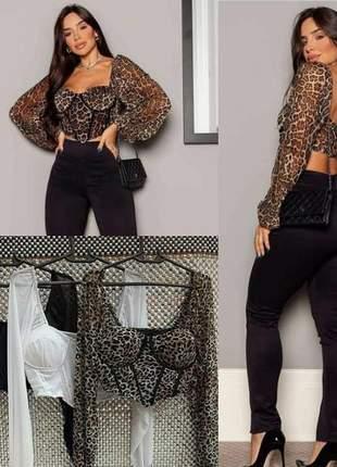 Blusa feminina de tule detalhe em recortes corselet manga longa com bojo moda fashion