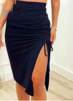 Saia feminina até o joelho com abertura na lateral tecido poliéster estilo mulher