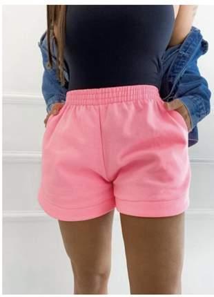 Shorts moletom feminino moletinho em algodão