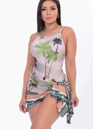 Conjunto body bambu moda praia mais saída de praia