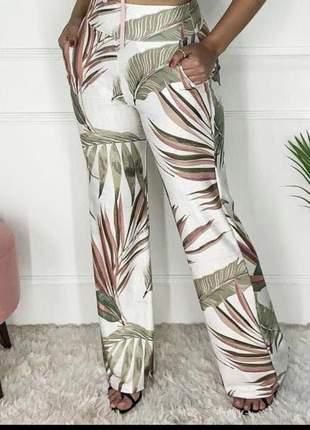 Calça pantalona feminina cintura alta com bolsos