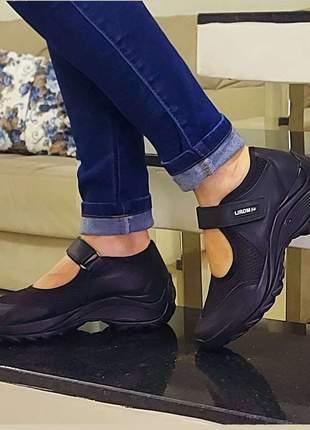 Tênis sapato feminino boneca lirom solado anatomico leve com salto