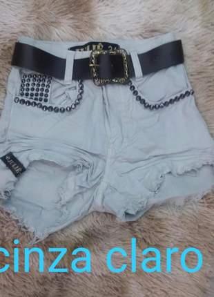 Short jeans cintura alta cinza da julie promoção verão