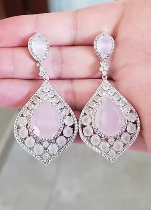 Maxi brinco quartzo rosa