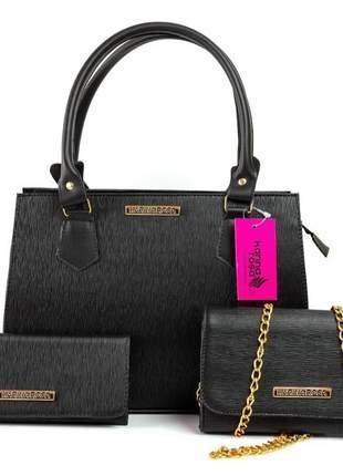 Kit 2 bolsas + carteira karina rosa mega promoção