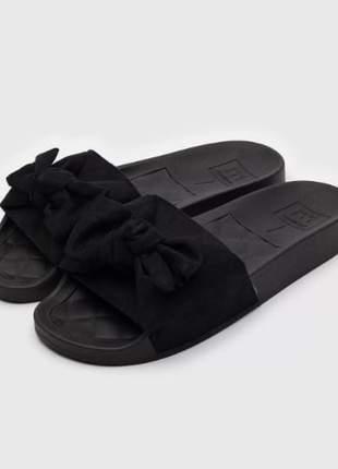 Chinelo feminino slide laço preto camurça moleca casual confortável leve 5414104p
