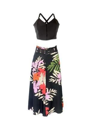 Conjunto infinity fashion cropped floral preto