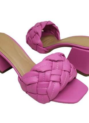 Tamanco mule feminino sandália salto bloco grosso 6 cm bico quadrado confortavel