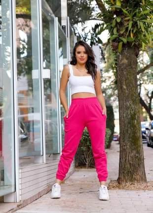 Calça feminina  moletom jogger elastico na costura e barra