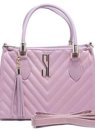 Bolsa feminina lovely santa lolla tamanho m cor preto rosa caramelo nude bordado v couro