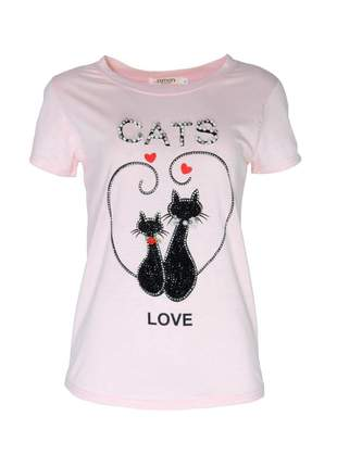 Blusa infinity fashion t-shirt cats rosê