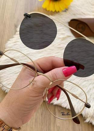 Óculos armação para grau round dourado clip on 2 em 1 lente escura preta