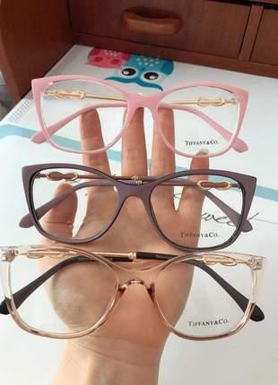 Óculos de grau incolor tiffany feminino armação estilo gatinho transparente com dourado