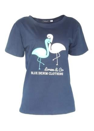 Blusa infinity fashion t-shirt flamingo azul marinho