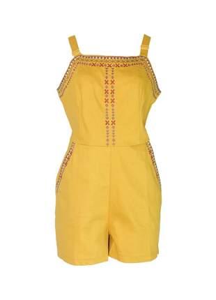 Macacão infinity fashion curto étnico mostarda