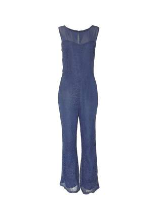 Macacão infinity fashion longo renda azul marinho