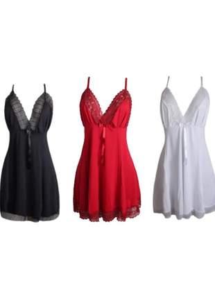 Kit 3 camisolas plus size dolce sedutti em renda o59
