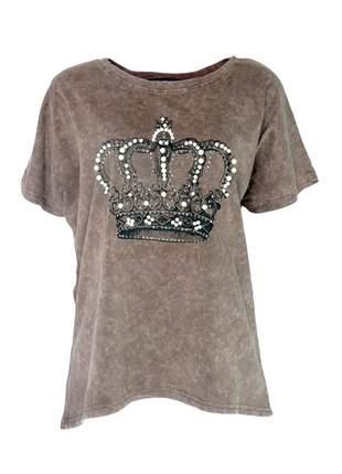 Blusa infinity fashion t-shirt corôa marrom