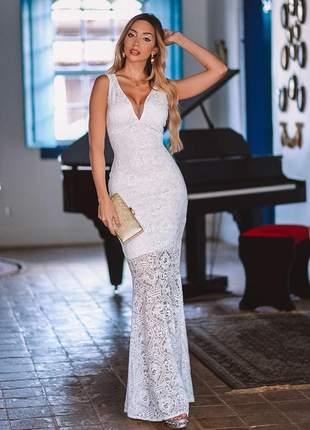 Vestido de renda longo - branco - noivado