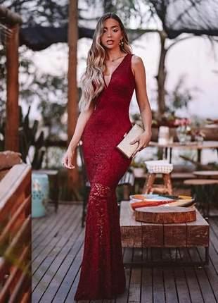 Vestido longo de renda - marsala - madrinhas