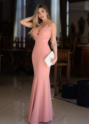 Vestido longo rosê - salmão /ideal para madrinhas e formandas!