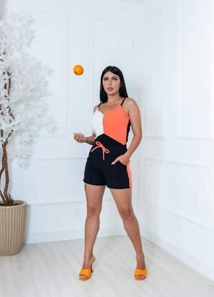 Conjunto feminino de blusa e shorts de malha crepe