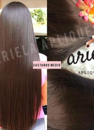Aplique fio invisivel mega hair castanho medio