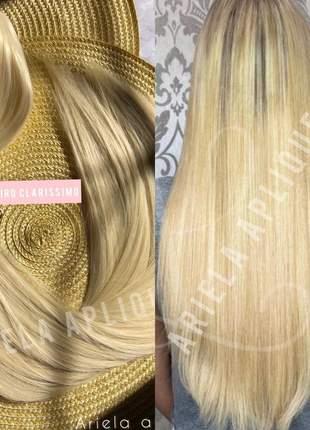 Aplique mega hair fio invisivel loiro