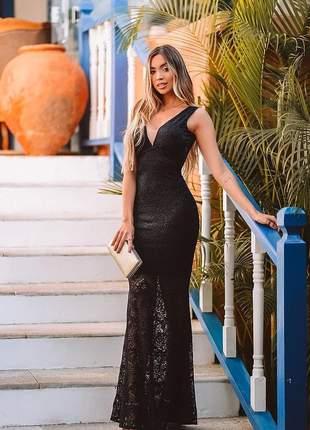 Vestido longo sereia festa formatura madrinha preto