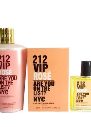 Kit colônia a base de óleo 50ml+ creme hidratante 250ml importado 212 vip rose