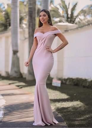 Vestido longo sereia rosê - madrinha - festa