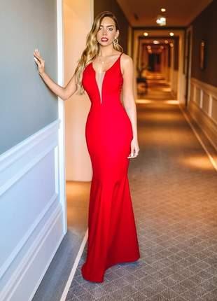 Vestido sereia vermelho ferrari - festa / formatura