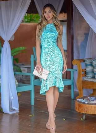 Vestido midi verde/azul tiffany - casual
