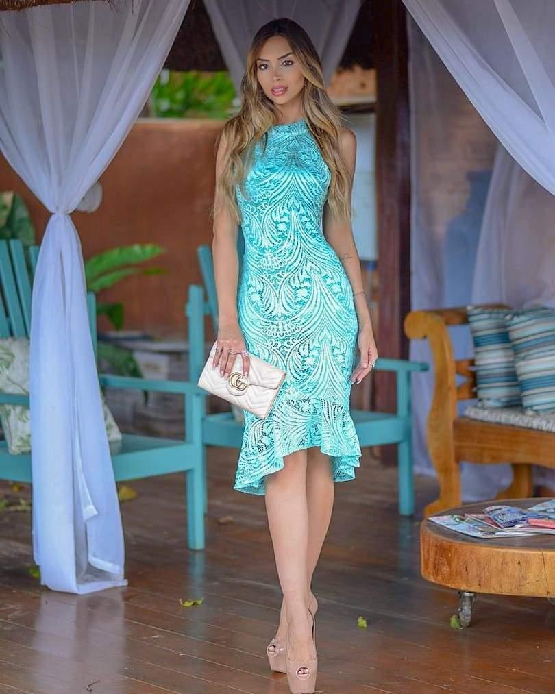 65cb61b2c Vestido midi verde/azul tiffany - casual - R$ 139.90 (de festa, de ...
