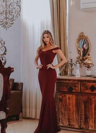 Vestido longo sereia marsala- festa - formatura- madrinha