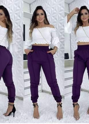 Calça cintura alta  jogger alfaitaria