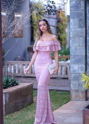 Vestido longo sereia em renda rosê - festa- madrinha - formatura