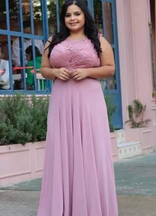 Vestido de festa plus size rose madrinha de casamento noivas