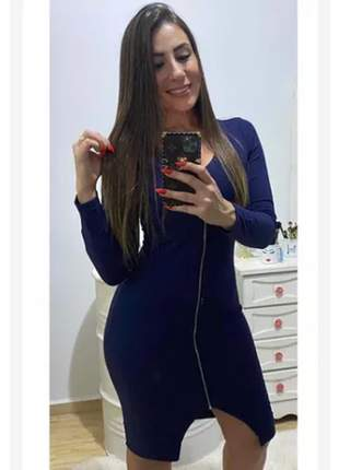 Vestido midi feminino manga comprida canelado tubinho social