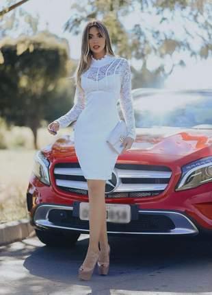 Vestido midi branco - casual - casamento  civil
